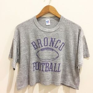 Vintage Crop T Shirt - Football Crop Top- Broncos
